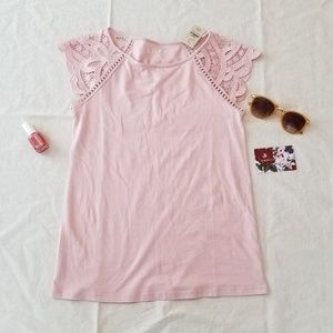 NWT Petite Lace Cap Sleeve Tee in pink